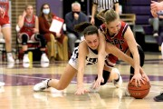 Adelaide Williams fights for a steal against a Lusk defender in Glenrock Jan. 22.  The Lady Herders narrowly lost 38-36.