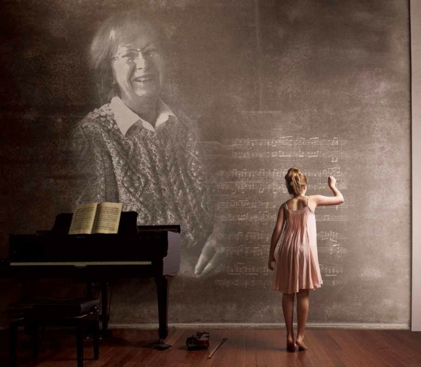 The late Arlene Osborn (image on chalkboard) influenced many Glenrock children and adults with her love of music.