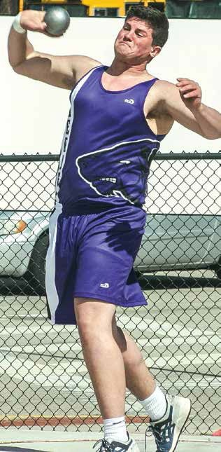 "Logan Downs puts his size behind every throw in the shot put. The senior set a personal record with a heave of 44' 6""."